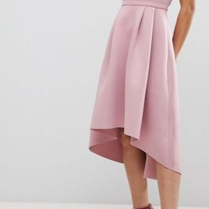 ASOS Dresses - ASOS Bardot Cold Shoulder Dip Back Midi Prom Dress